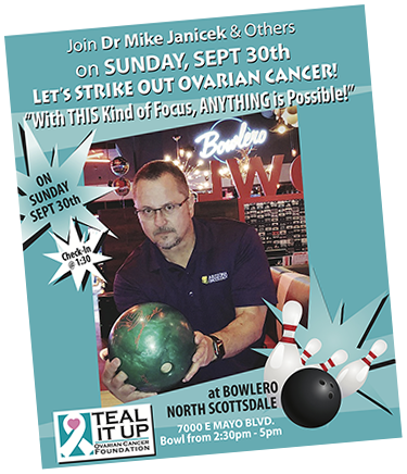 strike out cancer bowling poster