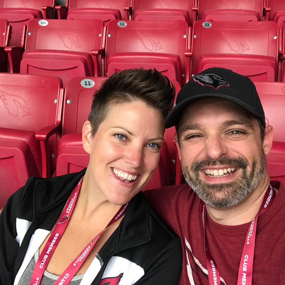 Cristan Creasy and husband at Cardinals game