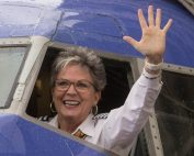 Sherri Maple - Waving farewell after final flight before retirement
