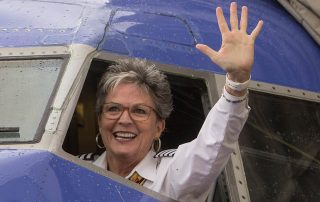 Sherri Maple - Waving farewell after final flight before retirement