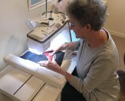 Sherri sewing tote bags for Sew Powerful